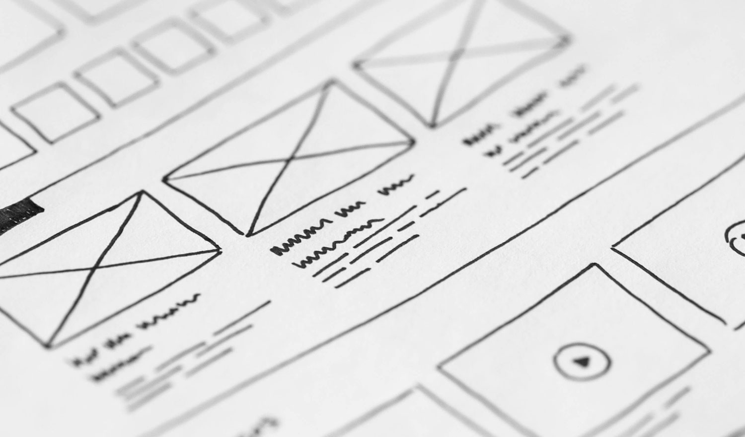 UX Design sketches of wireframes for a website's information architecture