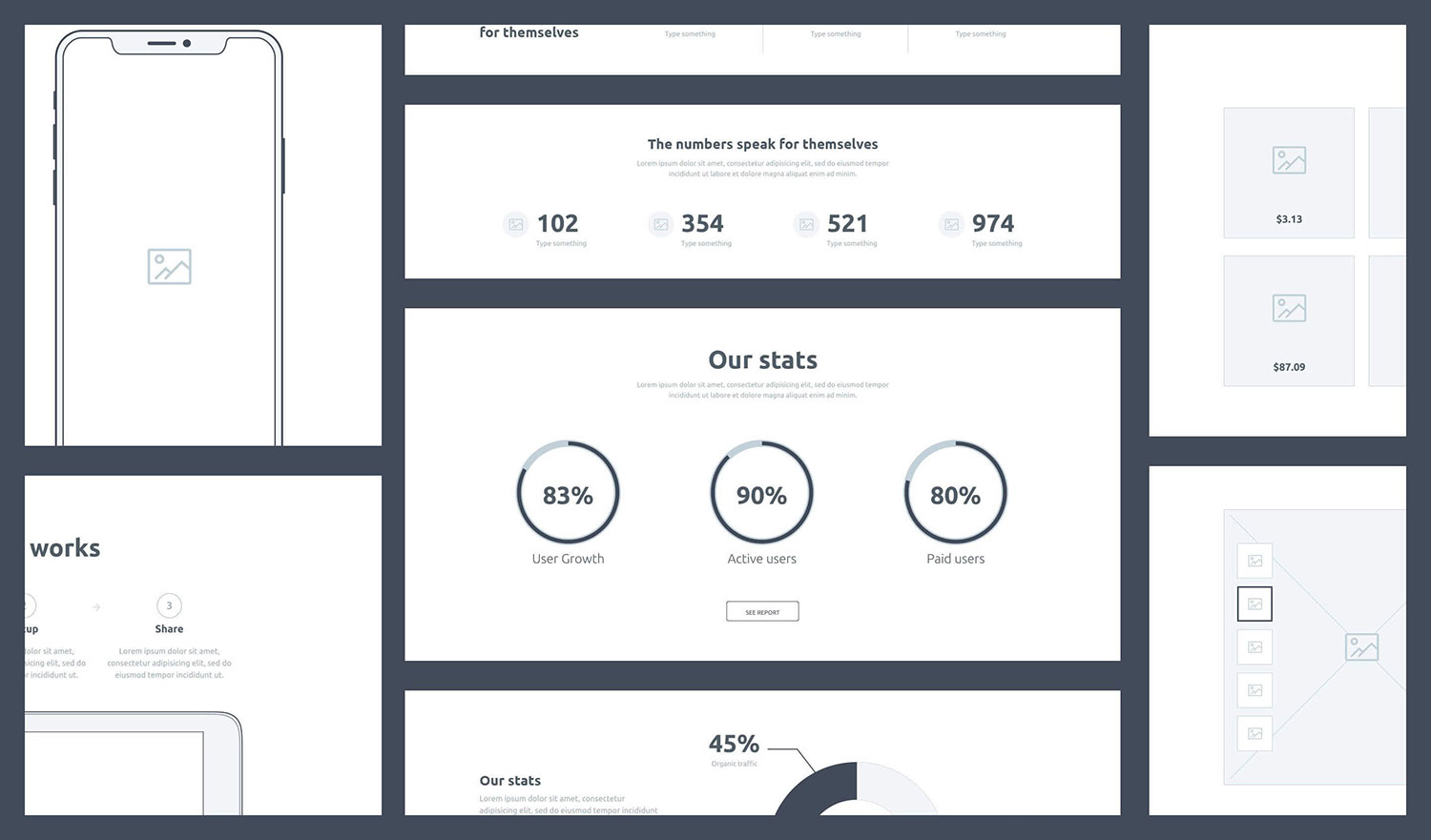 UX Design wireframes for analytics, eCommerce, and how SaaS works