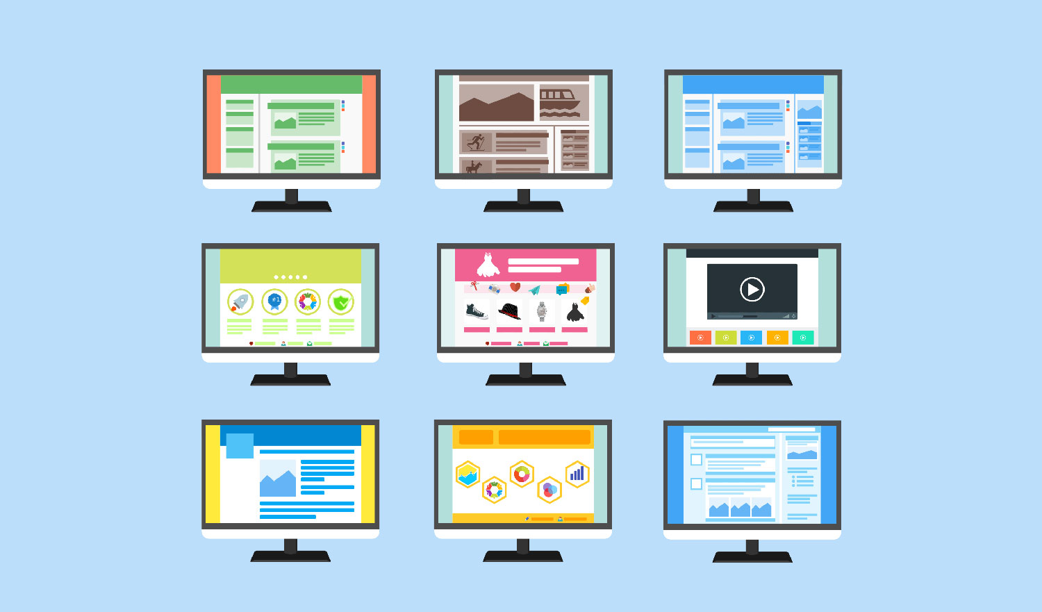 Custom page template designs for websites