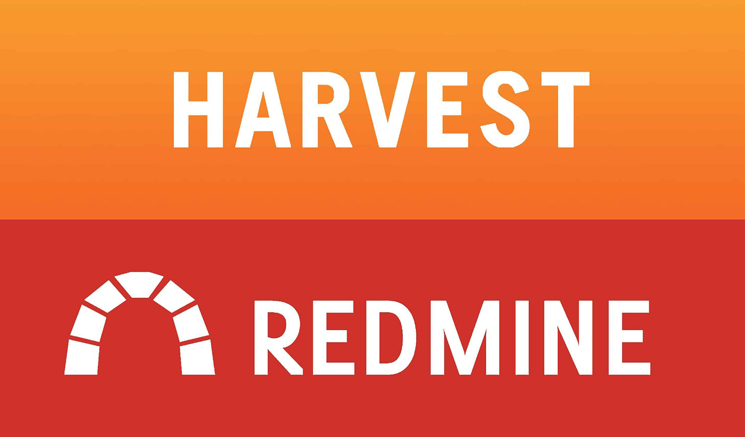 Harvest time keeping web application brand logo stacked on top of and Redmine project management web application brand logo
