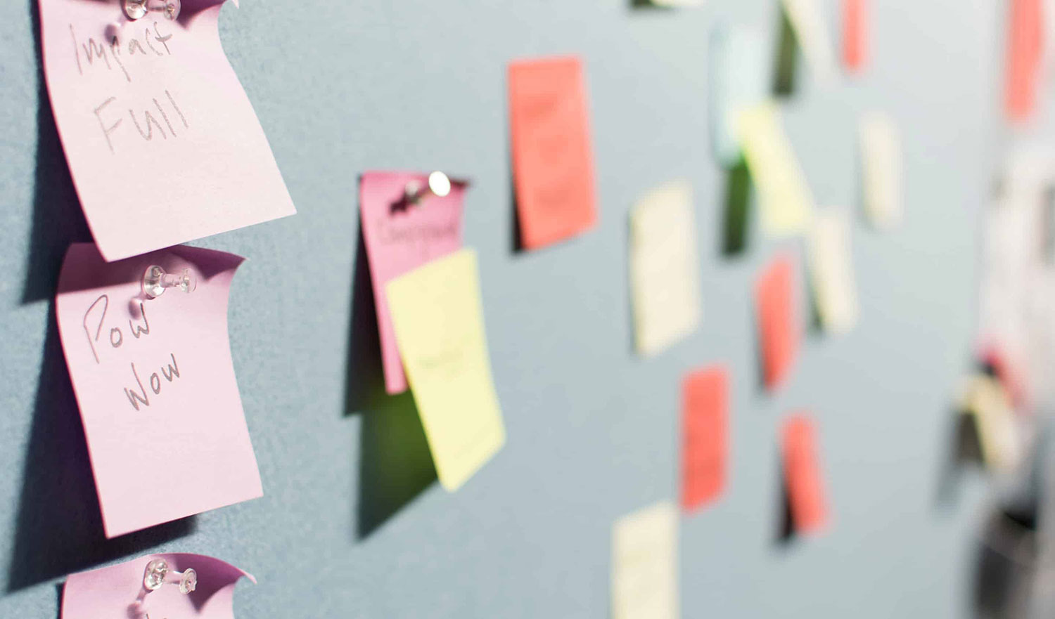 Agile kanban-style board with pos-its for software development tasks