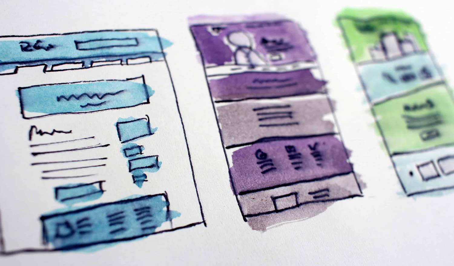 User experience design sketches for a custom website